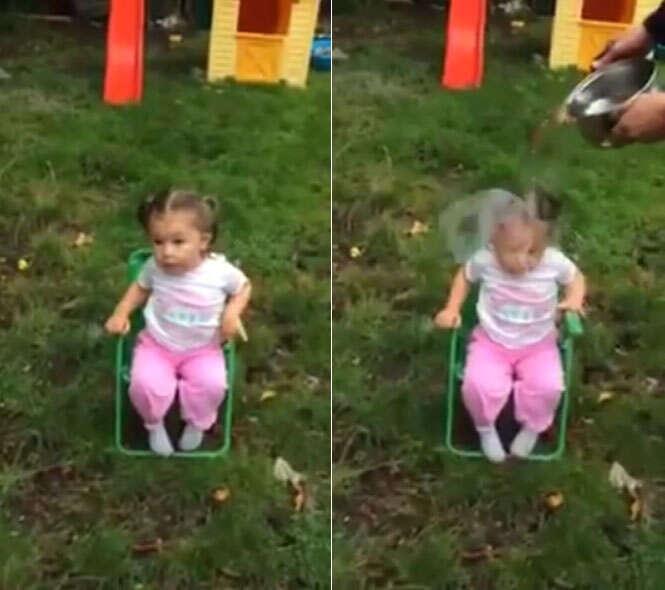 Vídeo mostra criança de 2 anos cumprindo desafio do balde de gelo