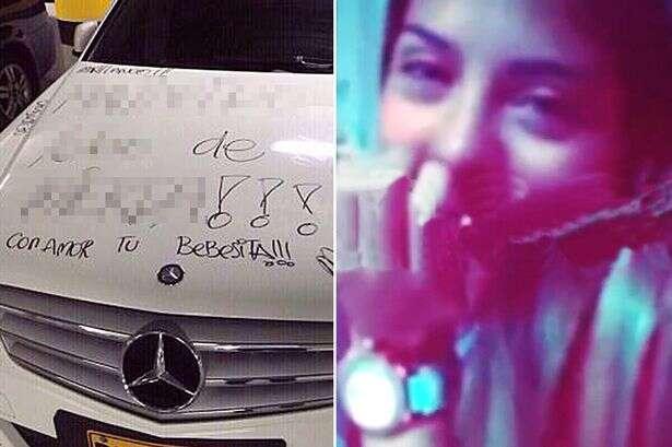 Mulher traída grava vídeo rabiscando Mercedes de ex-namorado