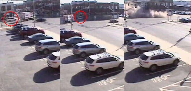 Vídeo mostra momento em que carro de mulher derruba edifício ao se chocar contra ele