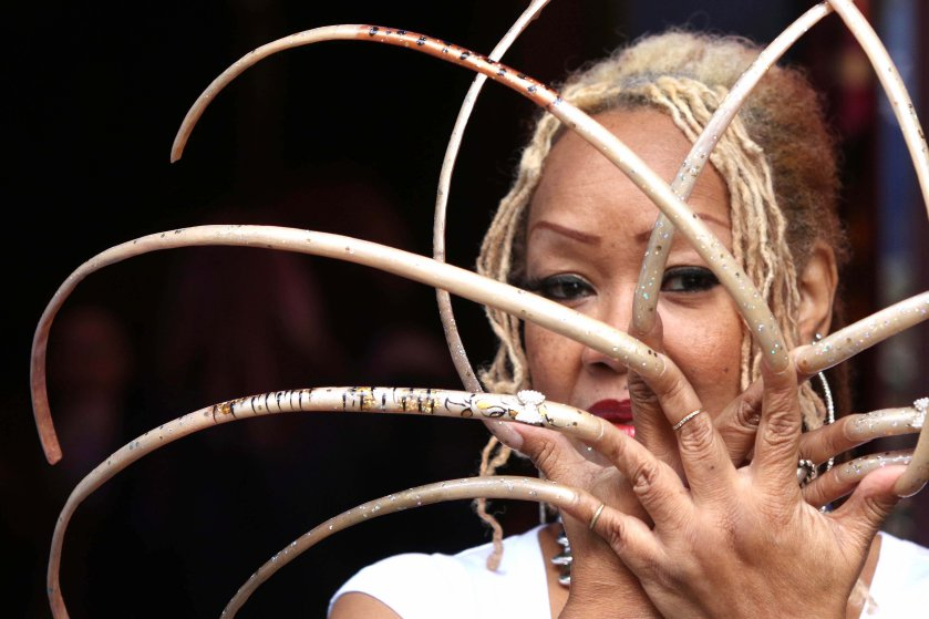 Ayanna Williams Displays Her 23-Inch Nails At A Book Launch In London