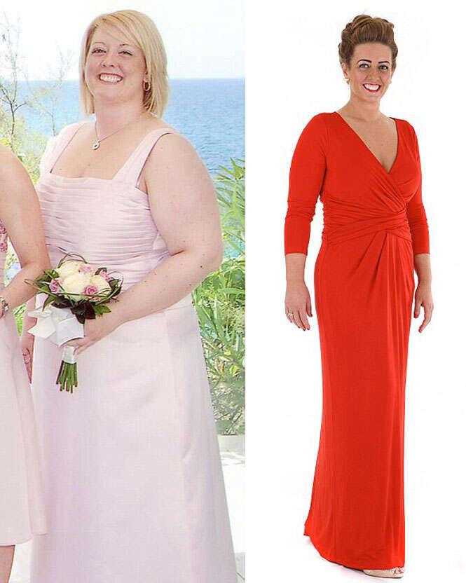 Obesa se assusta ao ver fotos dela como dama de honra e perde 44 quilos para se tornar dama novamente