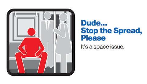Campanha para homens se sentarem com as pernas fechadas
