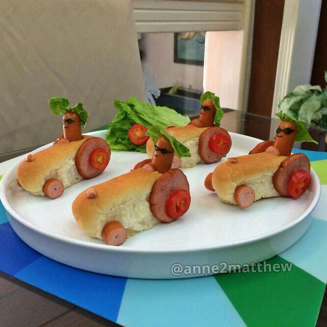 Cachorro-quente criativo no café da manhã