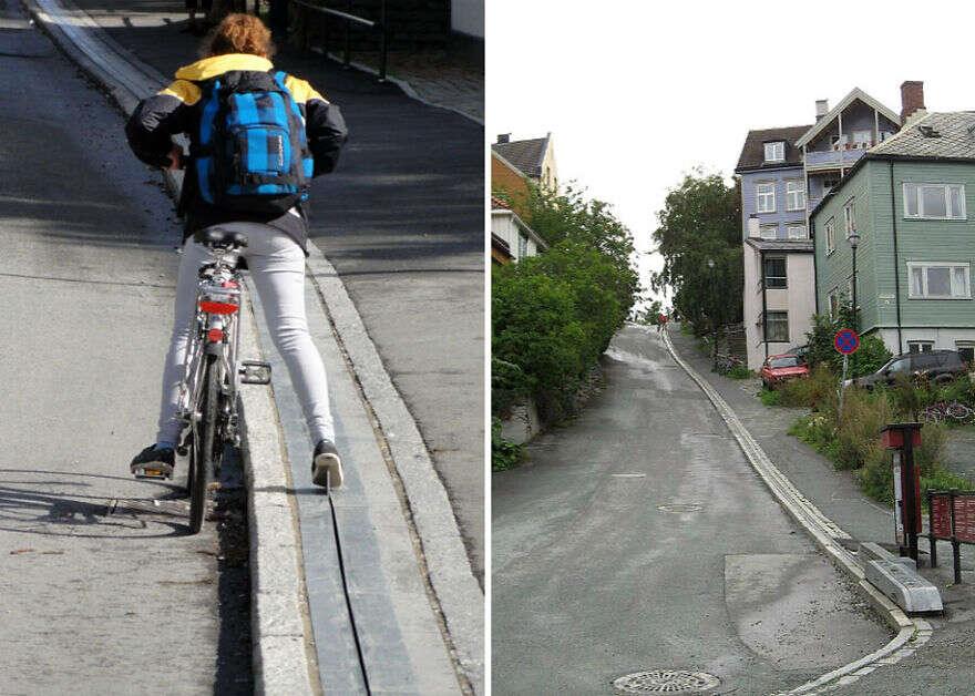 """Cidade norueguesa inaugura primeira """"escada rolante"""" para ciclistas"""