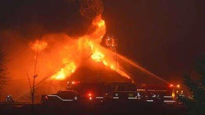 Crematório pega fogo no Canadá