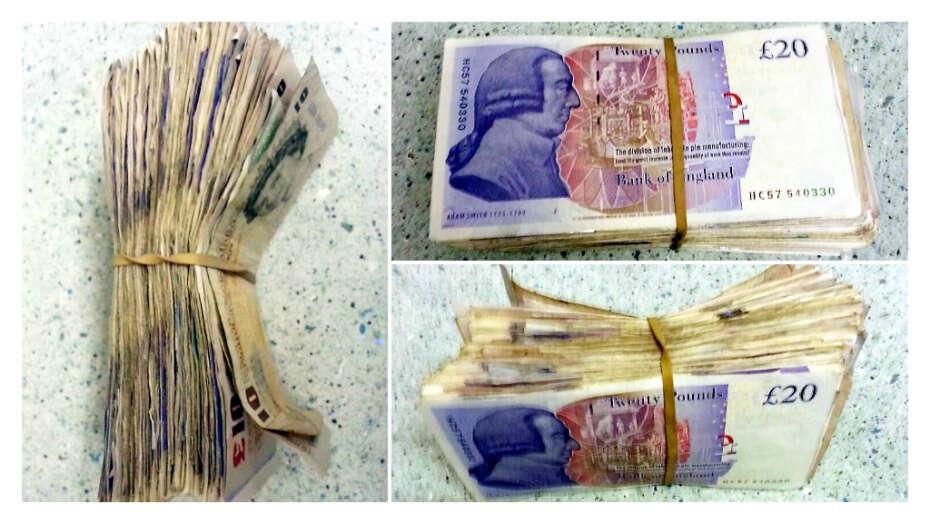 Dinheiro encontrado em sacola
