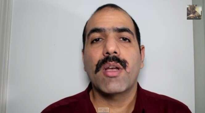 Homem faz sucesso na web em vídeo onde aparece tentado remover o bigode