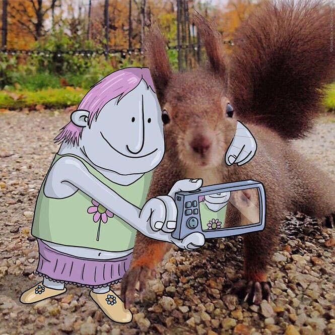 Ilustrador brasileiro coloca desenhos em fotos do Instagram