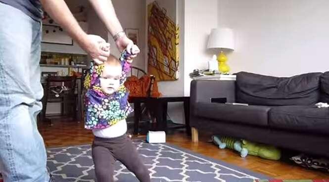 Vídeo de bebê aprendendo a andar bomba na internet