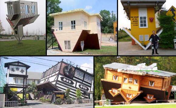 Casas construídas de cabeça para baixo em todo o mundo