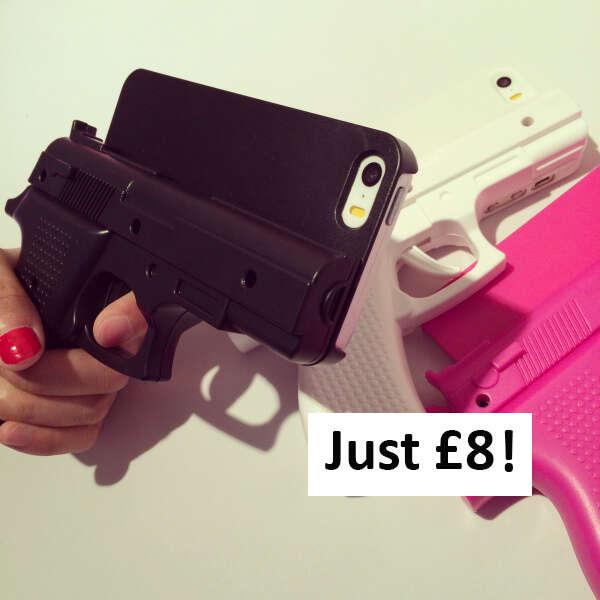 Case para iPhone com forma de arma