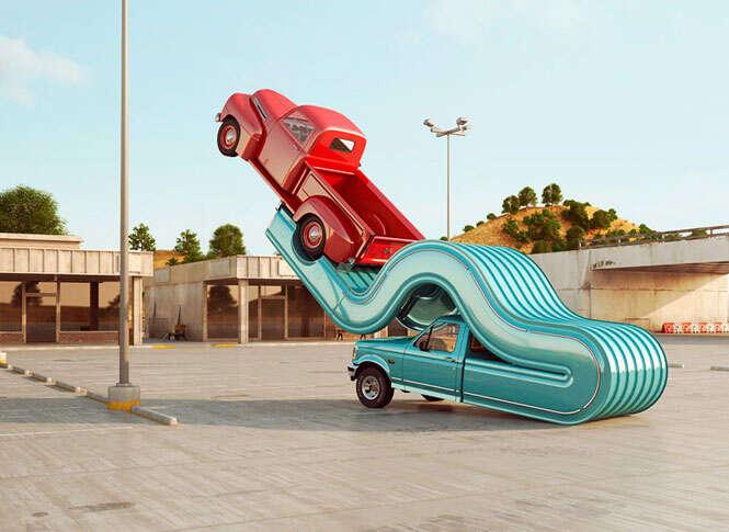 Arte com caminhonetes retorcidas