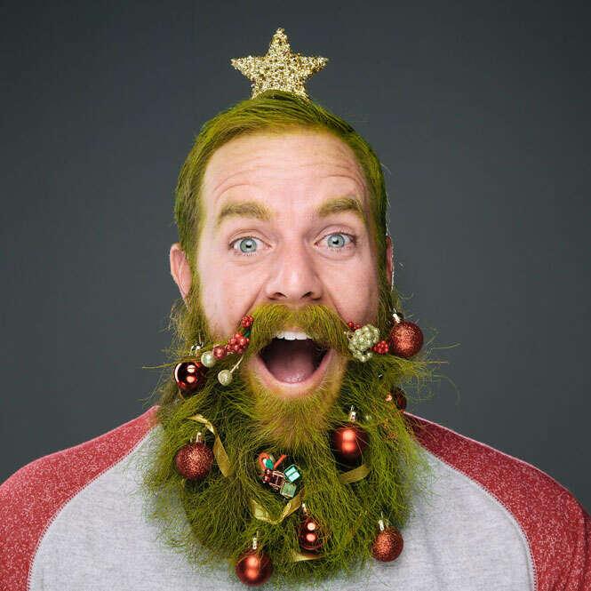 Barbas enfeitadas para o Natal