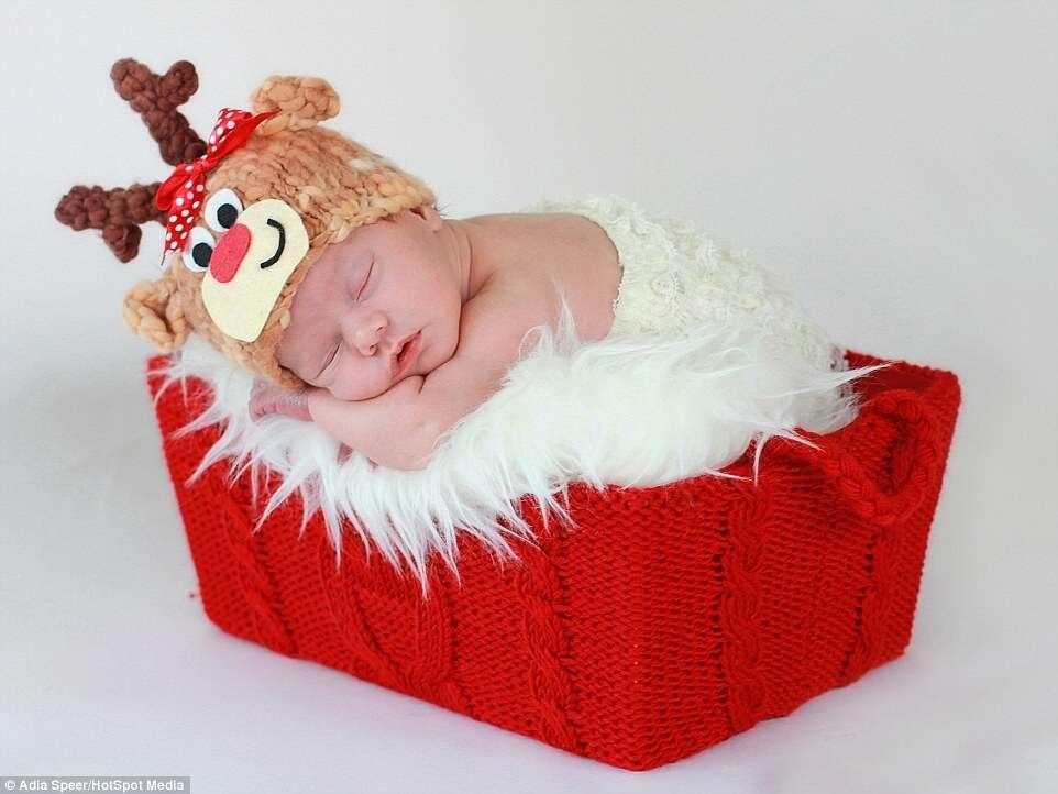 Fotógrafa registra série incrível de fotos no clima de Natal com bebês recém-nascidos