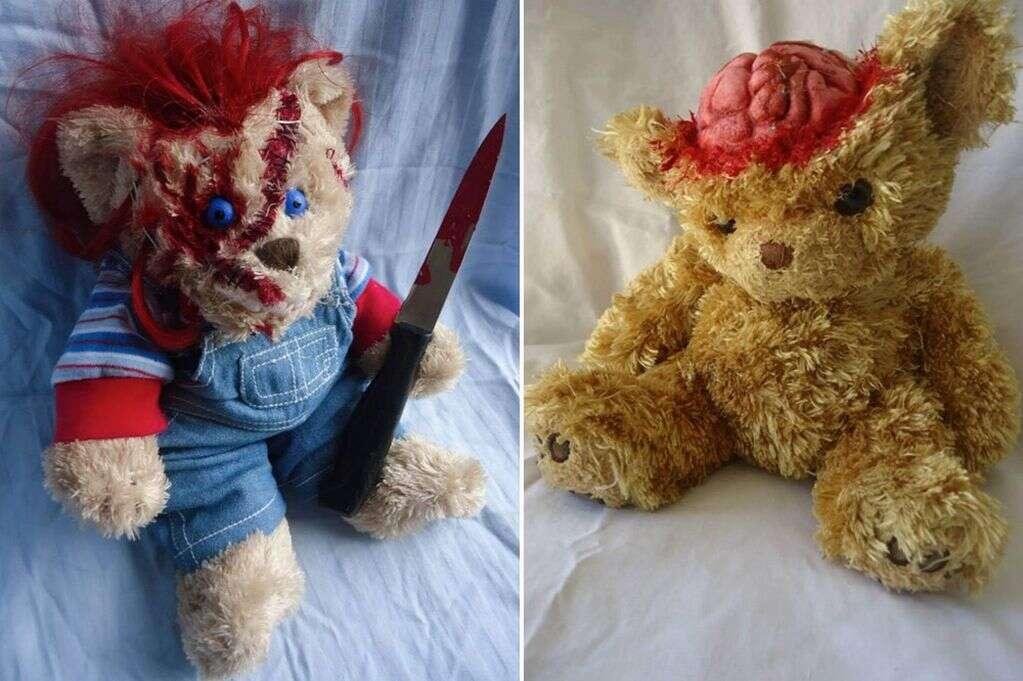 Mulher transforma ursos de pelúcia em personagens assustadores de filmes de terror