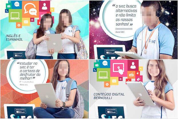Escola usou MacBook como iPad em publicidade