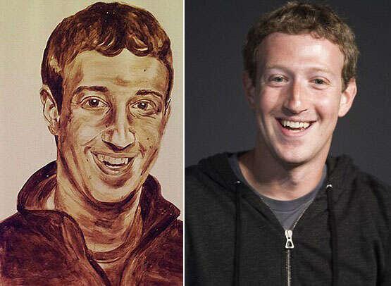 Artista chama atenção ao criar retrato de Mark Zuckerberg feito de fezes