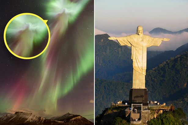 Imagem do Cristo Redentor é flagrada durante exibição de luzes na Islândia