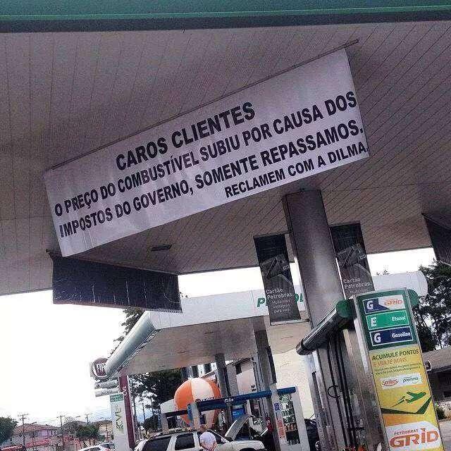 Posto de combustíveis culpa presidenta Dilma pelo aumento da gasolina