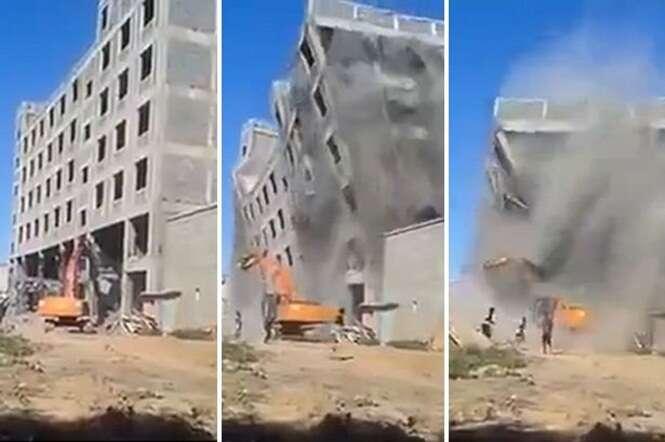 Edifício desmorona sobre operários na China