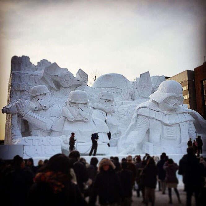 Escultura de neve de Star Wars