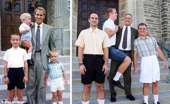 Irmãos reproduzem fotos antigas de forma idêntica e fazem sucesso nas redes sociais