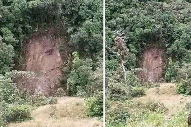Suposta imagem de Jesus surge após deslizamento de terra