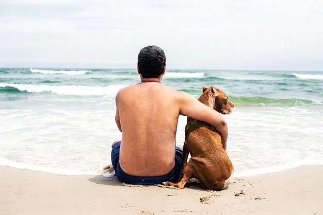 Cãozinho em fase terminal é levado para conhecer o mar