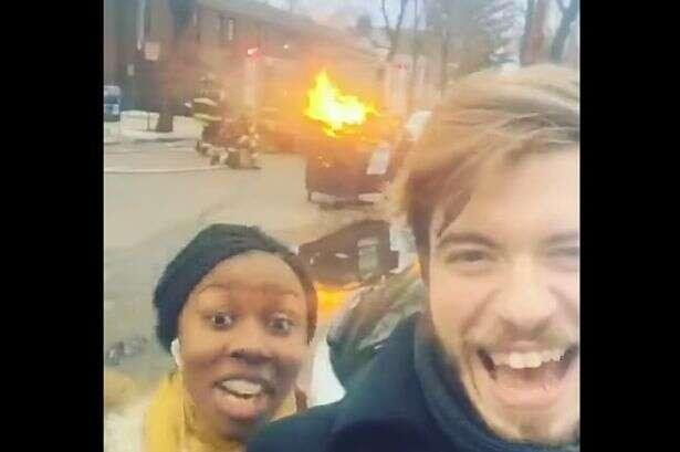 Vídeo mostra porque não devemos tirar selfies na frente de incêndio