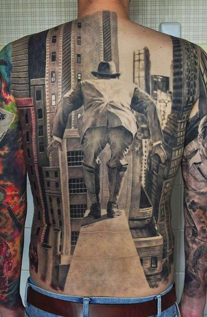 Tatuagens 3D impressionam por misturar fantasia e realidade