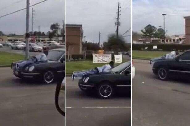 Vídeo flagra momento em que homem tentou convencer namorada de não abandoná-lo se agarrando ao capô do carro dela