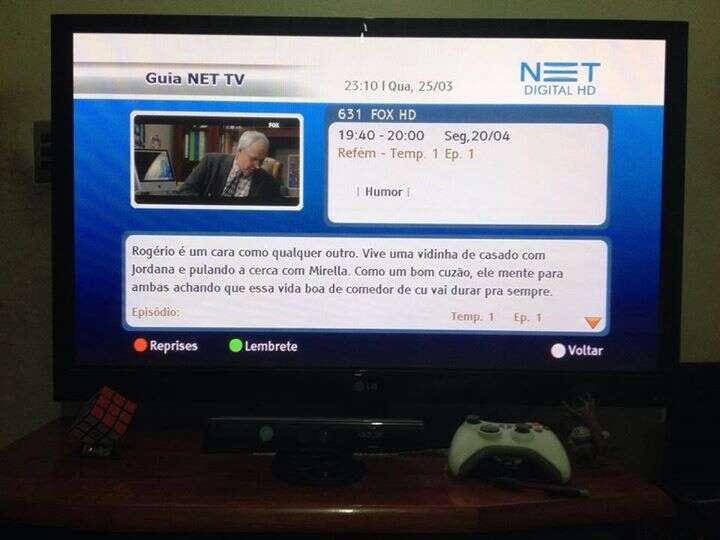Imagem de descrição de programação em guia de canais de TV a cabo NET bomba na web