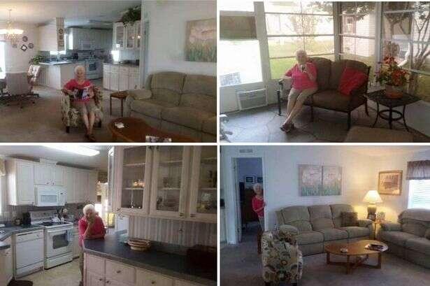 Idosa aparece posando em todos os cômodos de sua casa em tentativa de vender imóvel e fotos se tornam virais na web