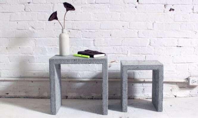 Mobília feita com LEGO e cimento