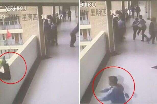 Vídeo mostra momento chocante em que aluno pula do quarto andar de prédio escolar