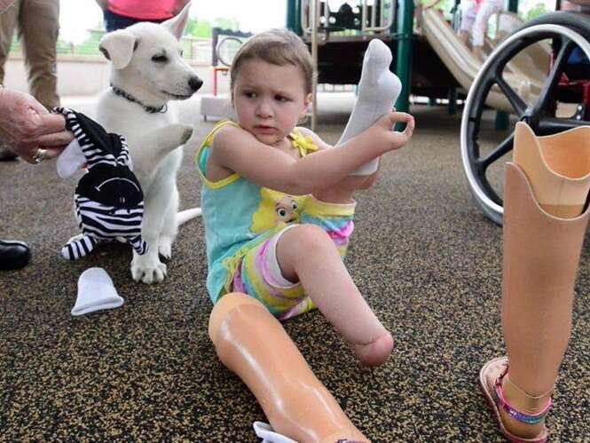 Menina que não possui os pés adota cão sem pata