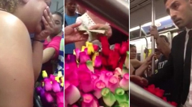 Vendedora de flores em metrô cai em lágrimas após homem misterioso lhe comprar todo seu estoque