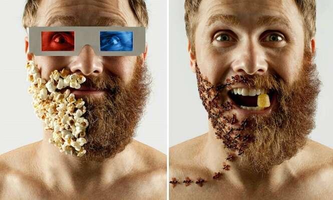 Brasileiro preenche barba raspada com objetos divertidos