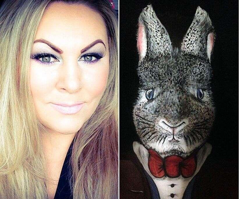 Mulher se transforma em um coelho da Páscoa usando apenas maquiagem