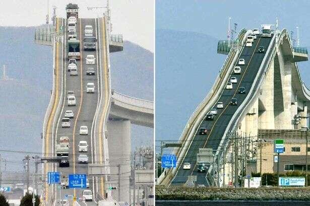Ponte extremamente íngreme deixa motoristas com sensação de descerem uma montanha-russa no Japão