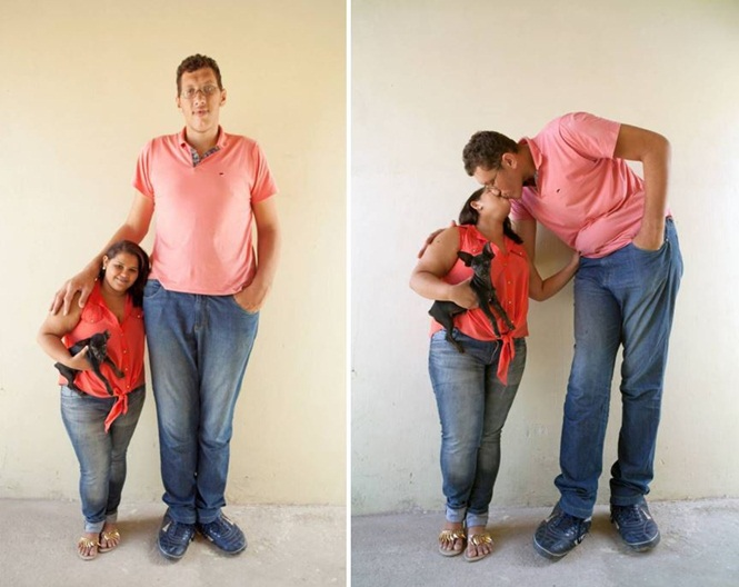 Homem mais alto do Brasil se casa com mulher de 1,52 metros