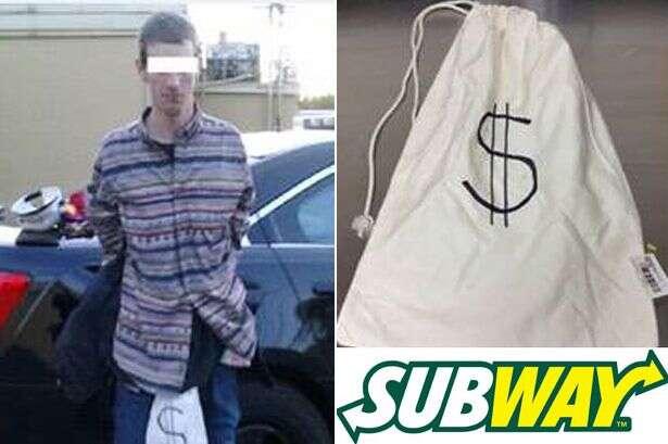"""Ladrão carrega saco de dinheiro com símbolo """"$"""" estampado e acaba sendo capturado e preso"""