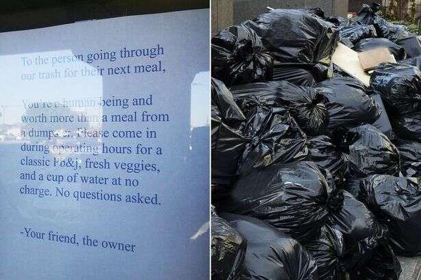 Dona de restaurante expõe cartaz oferecendo refeições a moradores de rua que reviraram seu lixo