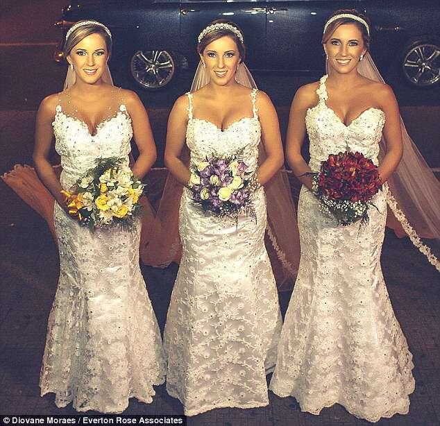 Trigêmeas idênticas se casam na mesma cerimônia