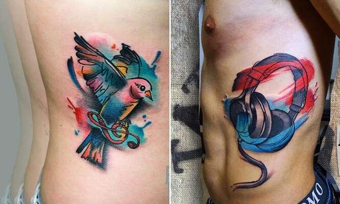 Tatuagens de cores vibrantes fazem sucesso entre os amantes da arte