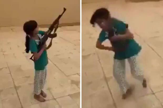 Vídeo flagra menina de 9 anos atirando com metralhadora