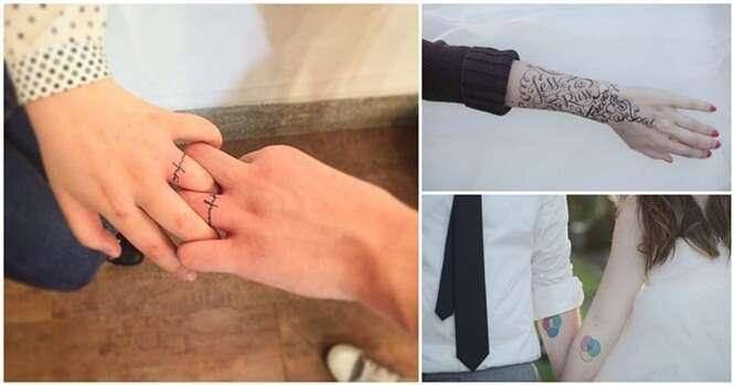 Noivos que imortalizaram o casamento com tatuagens