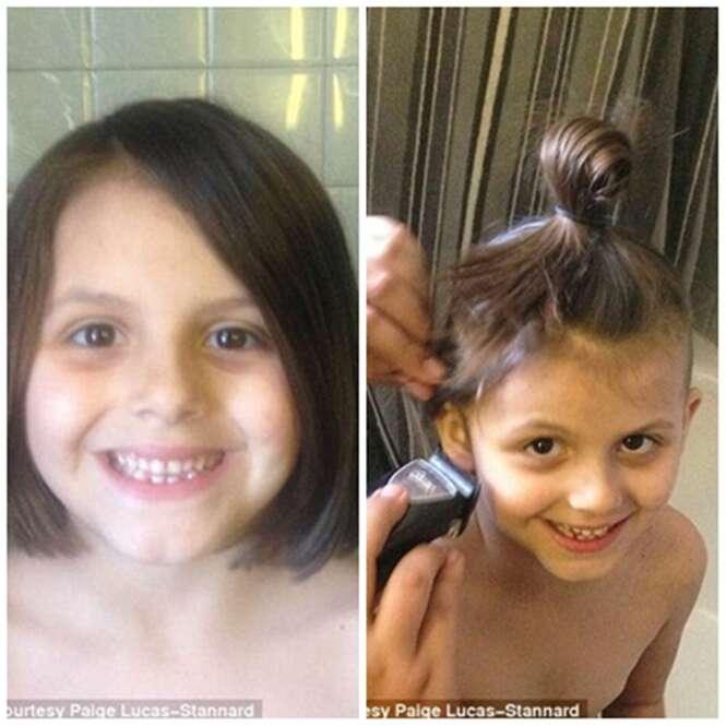 Mãe raspa o cabelo da filha que insistiu querer se parecer com o pai e ato vem causando polêmica