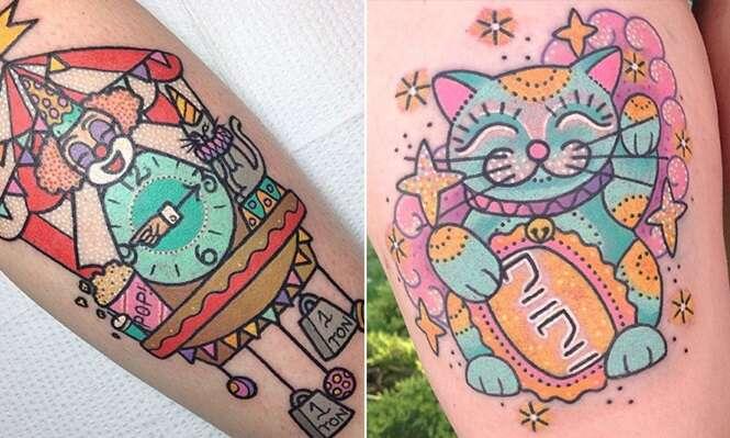 Tatuagens coloridas para quem quer fugir do convencional