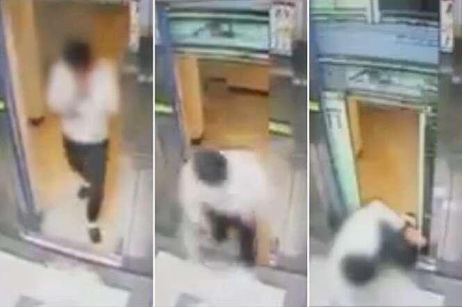 Vídeo mostra momento em quem homem milagrosamente escapa de ter pernas mutiladas por elevador